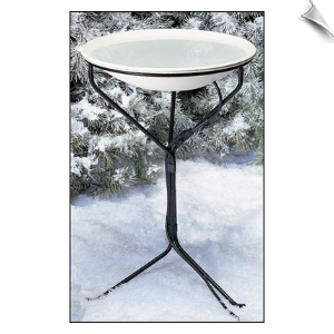 "20 Inch Heated Bird Bath with Metal Stand <br><span style=""color:#1954e9;"">New Item!</span>"