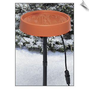 "12 Inch Diameter Heated Bird Bath with Metal Stand <br><span style=""color:#1954e9;"">New Item!</span>"