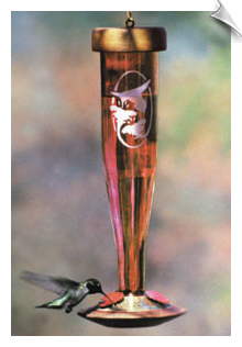 Schrodt - Ruby Single Etched Hummingbird Lantern